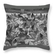 Azaleas Black And White Throw Pillow