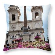 Azaleas On The Spanish Steps In Rome Throw Pillow