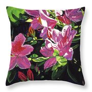 Azaleas With Dew Drop Throw Pillow