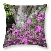 Azaleas With Tree Throw Pillow