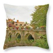 Azay Le Rideau Bridge, Boys Fishing Throw Pillow