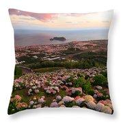 Azorean Town At Sunset Throw Pillow