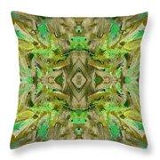 Aztec Kaleidoscope - Pattern 009 - Dark Olive Throw Pillow