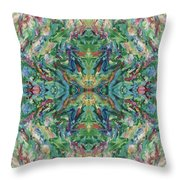 Aztec Kaleidoscope - Pattern 018 - Earth Throw Pillow