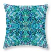 Aztec Kaleidoscope - Pattern 018 - Ocean Throw Pillow