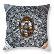 Aztec  Mayan Skull Warrior Calendar Relief Photo Throw Pillow