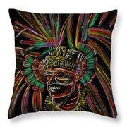 Aztec Skull Warrior Throw Pillow