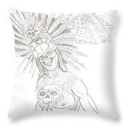 Aztec Warrior In Front Of Chicchen Itza Throw Pillow