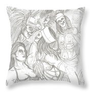 Aztec Warriors With Female Throw Pillow