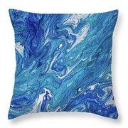 Azure Transfusions Of Ocean Waves Fragment  Throw Pillow