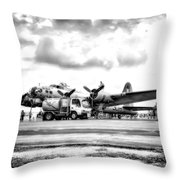 B-17 Bomber Fueling Up In Hdr Throw Pillow