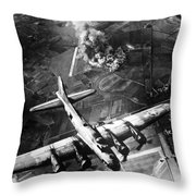 B-17 Bomber Over Germany  Throw Pillow