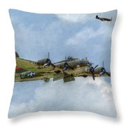 B-17 Flying Fortress Bomber  Throw Pillow by Randy Steele