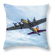 B-17g Flying Fortress In Flight  Throw Pillow