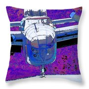 B-25 Blue Purple Throw Pillow