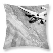 B-25 Bomber Over Germany Throw Pillow