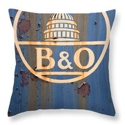 B And O Railroad Rail Car Signage Throw Pillow
