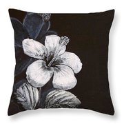 B And W Hibiscus Throw Pillow