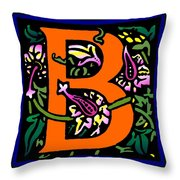 B In Orange Throw Pillow