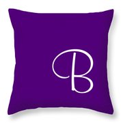 B In White Simple Script Throw Pillow