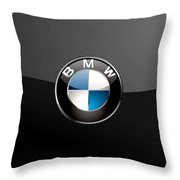 B M W  3 D Badge On Black Throw Pillow