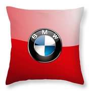 B M W Badge On Red  Throw Pillow by Serge Averbukh
