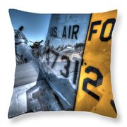 B17 And Her P51 Mustang Escort Sit Ready Throw Pillow
