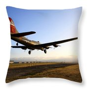 B17 Flying Fortress Lands At Livermore Klvk Throw Pillow