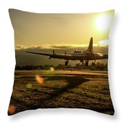 B17 Landing At Livermore Throw Pillow