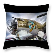 B17 Nine-o-nine Nose Art V2 Throw Pillow