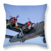 B24 Liberator Landing At Livermore Throw Pillow