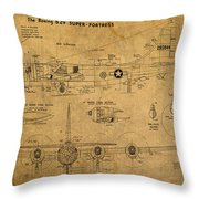 B29 Superfortress Military Plane World War Two Schematic Patent Drawing On Worn Distressed Canvas Throw Pillow