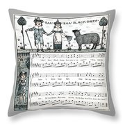 Baa Baa Black Sheep Antique Music Score Throw Pillow