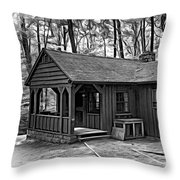 Babcock State Park Cabin - Paint Bw Throw Pillow
