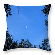 Babcock Wilderness Ranch - Daytime Moon Over Babcock Throw Pillow