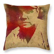 Babe Ruth Baseball Player New York Yankees Vintage Watercolor Portrait On Worn Canvas Throw Pillow