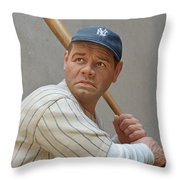 Babe Ruth Statue Throw Pillow