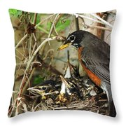 Babes In The Nest Throw Pillow