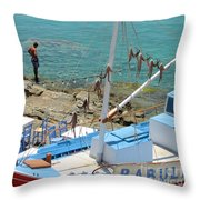 Babula's Fresh Catch Throw Pillow