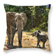 Baby And Mom Elephant Painting Throw Pillow