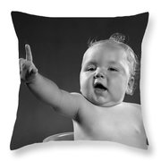 Baby Appearing To Make A Point Throw Pillow