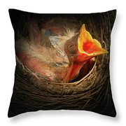 Baby Bird In The Nest With Mouth Open Throw Pillow