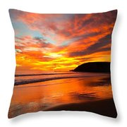Baby Blue And Tangerine Sky Throw Pillow