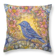 Baby Blue Bird Garden Throw Pillow