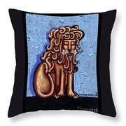 Baby Blue Byzantine Lion Throw Pillow by Genevieve Esson