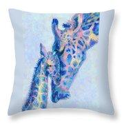 Baby Blue  Giraffes Throw Pillow
