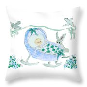 Baby Boy With Bunny And Birds Throw Pillow