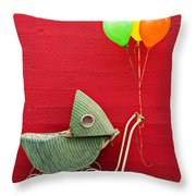 Baby Buggy With Red Wall Throw Pillow