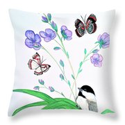 Baby Chickadee And Butterflies Throw Pillow