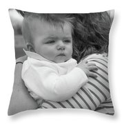 Baby Content On Mom's Shoulder Throw Pillow